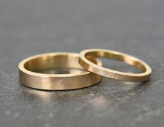 Gold Wedding Ring Set 14k Gold His and Hers by TorchfireStudio, $645.00