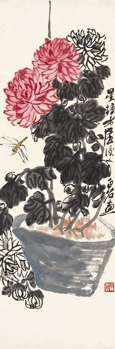 QI BAISHI, CHRYSANTHEMUM AND DRAGONFLY, Lot | Sotheby's