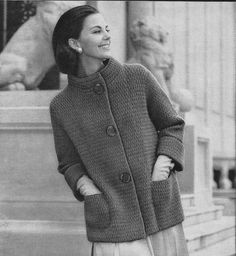 This listing is for a PDF that is downloadable after payment.  The pattern is for a knit jacket, 3/4 length sleeves from 1961, using worsted weight