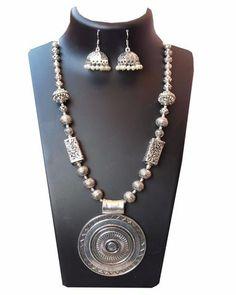 Big round pendant Oxidised german silver long neckpiece with jhumka