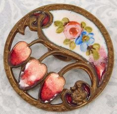 ANTIQUE VICTORIAN EMAUX PEINTS  ENAMEL BUTTON  RED PINKS #78
