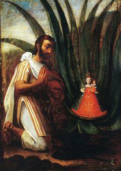 """""""El hallazgo de la Virgen de los Remedios por el cacique Juan de Tovar"""", óleo/tela, Miguel Cabrera, siglo XVII."""