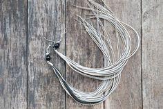 Very long earrings White earrings with long grizzly feathers,long feather earrings wedding earrings, hippie wedding, tribal jewelry on Etsy, $29.00