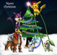 A Pokemon Christmas by krazykatdrawer