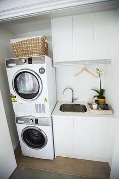 19 Most Beautiful Vintage Laundry Room Decor Ideas (eye-catching looks) Laundry Room Wall Decor, Laundry Room Shelves, Small Laundry Rooms, Laundry Closet, Laundry Room Organization, Laundry In Bathroom, Hidden Laundry, Compact Laundry, Basement Bathroom