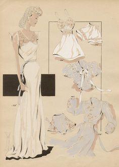 Original französische 1940er Jahre Mode-illustration