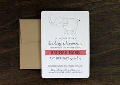 Girl Baby Shower Elephant Invitation by Paperelli on Etsy, $13.00