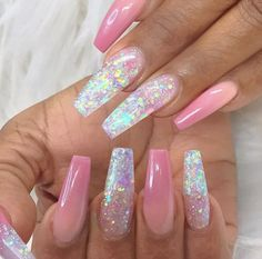 Pink Acrylic Nail Designs, Nail Design Glitter, Manicure Nail Designs, Gel Nail Art Designs, Pink Acrylic Nails, Pink Acrylics, Glitter Nails, Nails Design, Bright Nail Designs