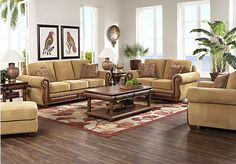 Shop for a Cindy Crawford Key West Tan  7Pc Classic Living Room at Rooms To Go. Find Living Room Sets that will look great in your home and complement the rest of your furniture.