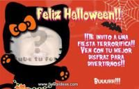 Hello kitty invitaciones de Halloween con foto