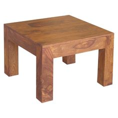 Handcrafted Medium Cube Square Table - (16H X 23.5W x 23.5D) - Natural - Timbergirl