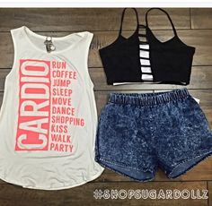 ✨Cardio Tee $12.99 (S/M/L) with our acid washed shorts $14.99 (S/M/L) and our $9.99 bandeaus come in (Blk & White) ✨#ootd #shoping #cardio #onestopshop #canyonlake #lakeelsinore #temecula #sugardollz #trendsetters #shopsugardollz