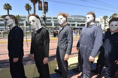 #MichaelMyers wait at the trolley stop outside of the convention center on day 1 of the 2014 Comic-Con International Convention on Thursday, July 24, 2014 in San Diego. #MichaelIsComingHome