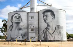 Check out the monochrome mural created by renowned Russian artist Julia Volchkova that was inspired by the Rupanyup Panthers Football & Netball Club. Street Art Banksy, 3d Street Art, Blue Mountains Australia, Water Tower, Old Barns, Chalk Art, Public Art, Urban Art, Scenery