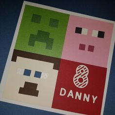 Carte d'invitation Minecraft Minecraft Cards, Minecraft Birthday Card, Birthday Cards, Baby Cards, I Card, Scrapbooking, Colours, Invitations, Messages