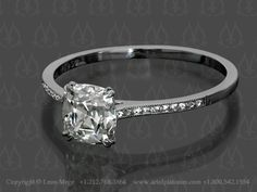 Custom made engagement ring solitaire by Leon Mege
