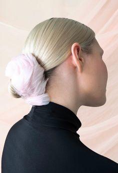Dahlia Hair Tie | Swan Blush - Anni Ruuth Hair Ties, Spring Flowers, Dahlia, Swan, Your Hair, Blush, Fashion Design, Ribbon Hair Ties, Swans