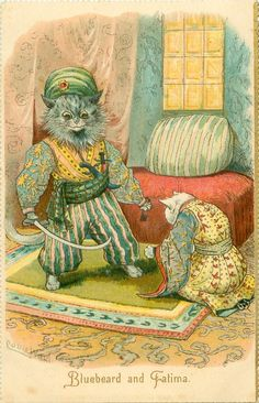 BLUEBEARD AND FATIMA | by Louis Wain   reminded me of a genie :)
