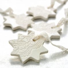 Items similar to Ceramic Ornament with Lace Impression Christmas Holiday Decoration White Star - Etsy Front Page on Etsy Clay Ornaments, Star Ornament, Handmade Ornaments, Noel Christmas, Christmas Crafts, Christmas Ornaments, Xmas, Ceramic Christmas Decorations, Holiday Decor