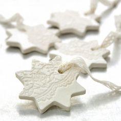 Ceramic Ornament with Lace Impression by JewelryByMondaen