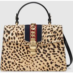 6e932d4dc Gucci satchel bag in leopard-print dyed calf hair (Italy/Spain/France/Australia).  Golden hardware and signature blue/red/blue web trim.