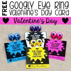 What kid doesn& absolutely LOVE these fun googly eye rings! This is the perfect Valentine for your girls AND boys! There are two options so that you can print on white paper OR colored paper to match your rings (see photo). Free Valentines Day Cards, Cute Valentine Ideas, Kinder Valentines, Valentine Gifts For Kids, Valentine Theme, Valentines Art, Valentinstag Party, Valentine's Cards For Kids, Valentine's Day Diy