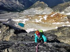 Amy of The GearCaster climbing Canada's Mount Sir Donald in her Arc'teryx Beta LT jacket