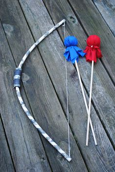 For isaiah Children's  Bow and 2 Arrows archery set--  Kid's Toy- Great Birthday or Easter gift - Spring outdoor toy- We ship priority mail. $8.00, via Etsy.
