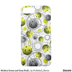 Modern Green and Gray Pickleball Case-Mate iPhone Case