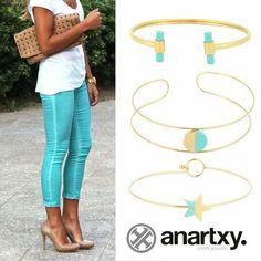 Turquoise trend  #anartxy #JoyasEnAcero #JóiasEmAço #SteelJewel #BijouxEnAcier #estilo #style #woman  www.anartxy.com