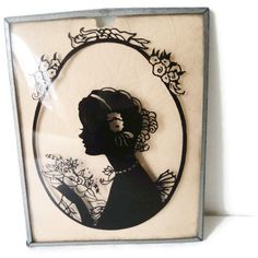 Vintage Silhouette Reverse Painted On Convex Glass by EraAntiquesandFinds on Etsy
