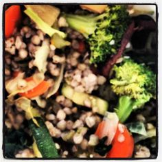 buckwheat, mushrooms, broccoli, carrots, onion, garlic, spinach - no oil. #plantstrong