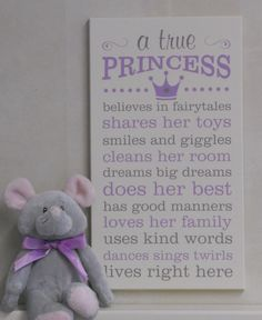 A True Princess, Princess Decor, Princess Rules, Painted Wood Sign Purple / Gray…