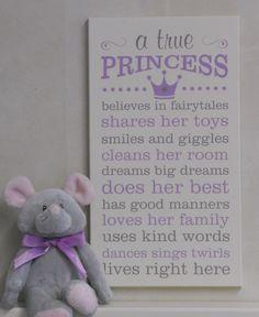 A True Princess, Princess Decor, Princess Rules, Painted Wood Sign Purple / Gray…