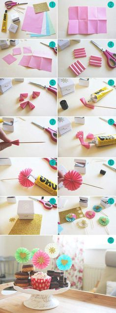 Paper Fan Decorations Cupcake Toppers How To Make Paper Fan Decorations!How To Make Paper Fan Decorations! Paper Fan Decorations, Diy Party Decorations, Deco Cupcake, Cupcake Toppers, Paper Rosettes, Paper Flowers, Diy Flowers, Décoration Candy Bar, Diy Paper