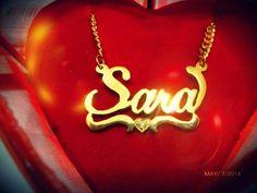 ♥ Collar de plata 950 baniado en oro de 18 #jewerly #namenecklace #mothersday #Sara
