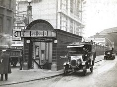Two taxis are pictured outside Paddington Underground station, Bakerloo line subway entrance opening onto Praed Street, in 1932 © TfL from the London Transport Museum collection Vintage London, Old London, Blitz London, Victorian London, London Underground Train, London Underground Stations, Underground Tube, London Pictures, London Photos
