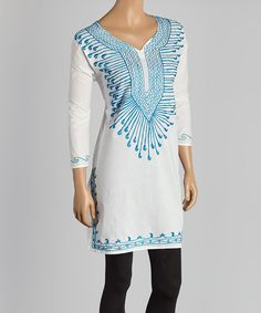 This White & Turquoise Tendril-Embroidered Tunic by Life and Style Fashions is perfect! #zulilyfinds