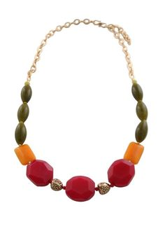 Multi-Stone Citrus Hues Long Necklace.  Pink aventurine, and orange and olive jade strung on bronze link chain, with bronze floral motif beads.