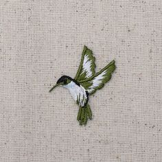 Hummingbird Iron on Applique High quality, detailed embroidery applique. Can be sewn or ironed on. Great for bags, hats, clothing, and more!  Measures 1 x 1-1/2 or 2.54cm x 3.81cm  Facing Left or Right