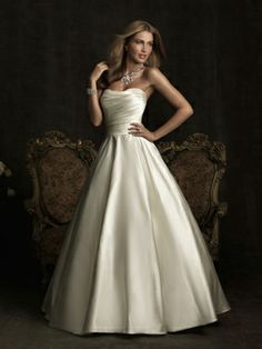 Allure wedding gown.  Bridal gown.  All satin ballgown with pleating.  Princess Brides.