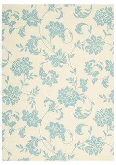 5'3''x7'5'' Home & Garden Floral Print Area Rug - Ivory