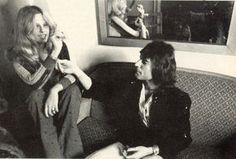 """littlequeenies: """"Queen in Barcelona in 1974, chatting with 'Rock'n'Roll Popular 1' Spanish magazine redactor Bertha M. Yebra, who also is combing Freddie's hair in the first picture (from here) for a..."""