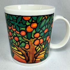 Chaleur LC Tiffany Inspired Stained Glass Mug Cup Orange Grove Tree 14 Fl. Oz. #Chaleur
