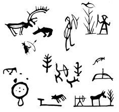 Hunting symbols in Sámi art. [Drawings of Saami symbology used on ritual drums & possibly in prehistoric rock art in northern Eurasia. Scandinavian Folk Art, Lappland, Ancient Art, Rock Art, Painted Rocks, Illustration, Pokemon, Religion, Art Nouveau