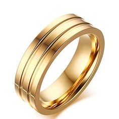 Men's Wedding Bands Classic 6MM Titanium Steel 18K Gold Plated Forever Love Promise Rings for Him High Polished Comfort Fit Size 10. Perfect Mens Wedding Bands Rings. Created in Titanium Steel- Titanium steel has become popular as a jewelry material due to its various unique properties. Ttitanium steel rings will not react with wearers who suffer allergies to other jewelry materials. Comfort Fit Band - Contoured on the inner surface for a more comfortable fit, comfort-fit bands run...