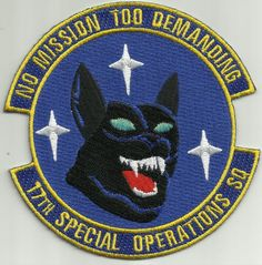USAF 17th Special Operations Squadron Military Patch NO MISSION TOO DEMANDING