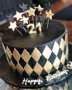 #birthdaycake #masculine #sharp #gold #customcake
