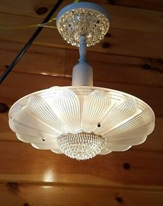 Vtg Antique Art Deco Sunflower Daisy Glass Shade Chandelier Light Fixture | eBay