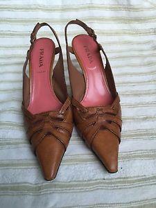 Prada Shoes Tan Sling Back Pumps Size 39 1/2  | eBay